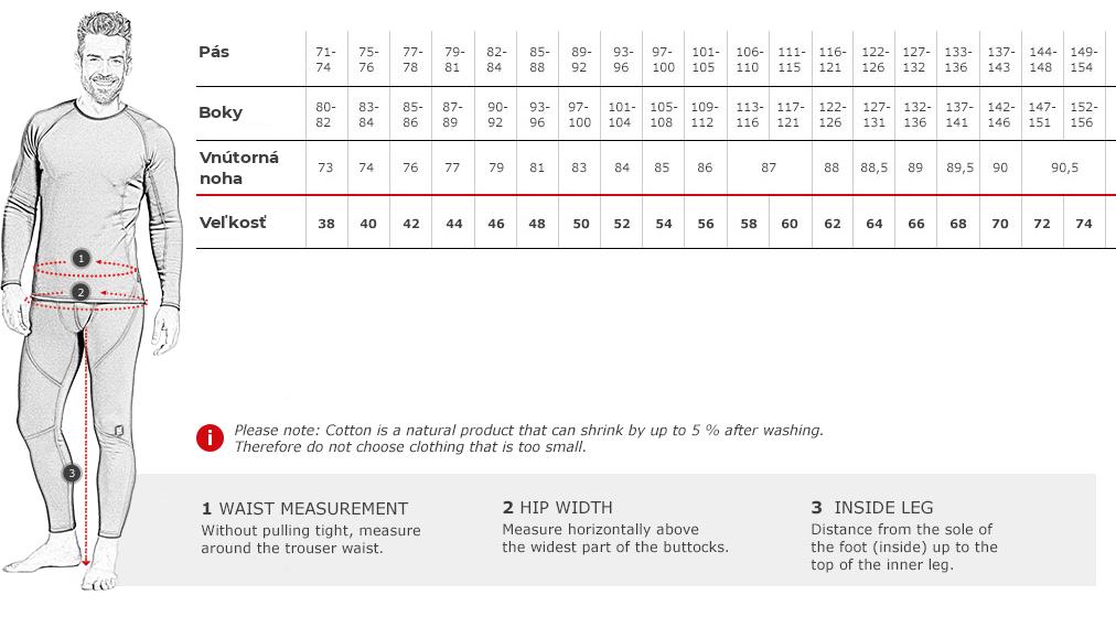 engelbert strauss nohavice veľkostná tabuľka