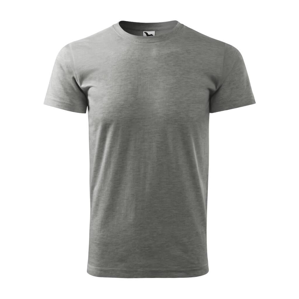 Tričko s krátkym rukávom, Basic, tmavosivý melír