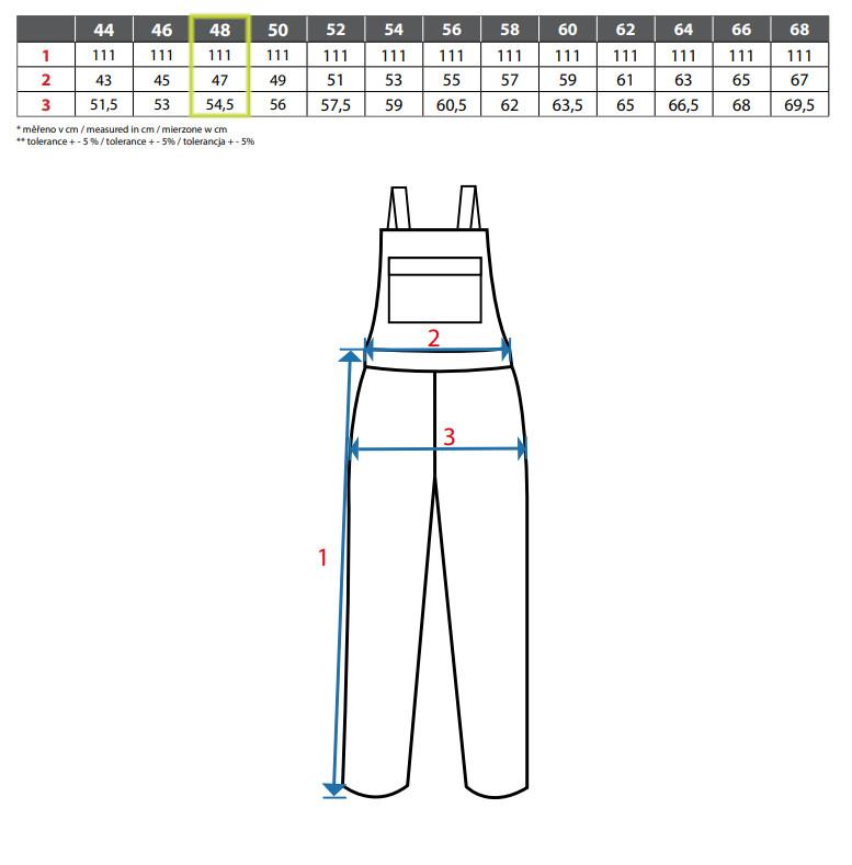 Reflexné montérky s náprsenkou CXS SIRIUS BRIGHTON - veľkostná tabuľka