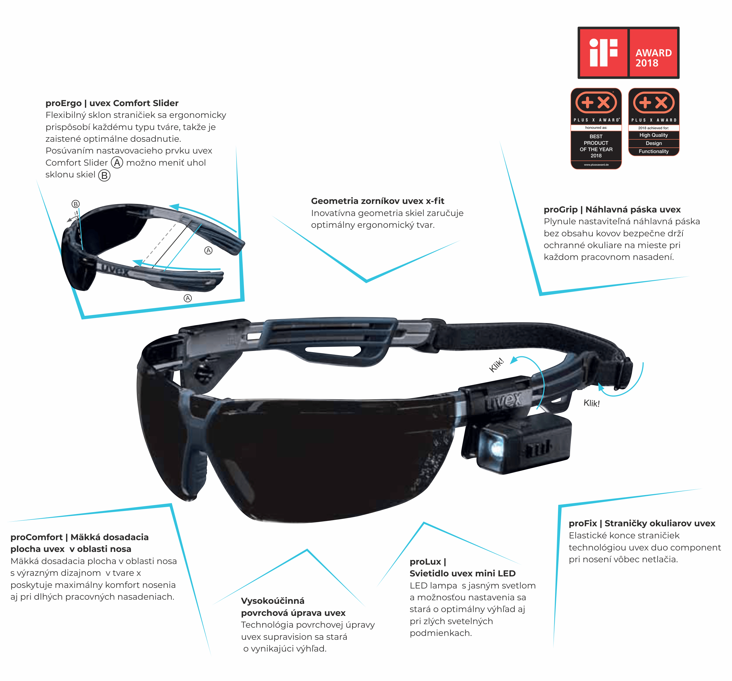 Vlastnosti okuliarov uvex x-fit pro