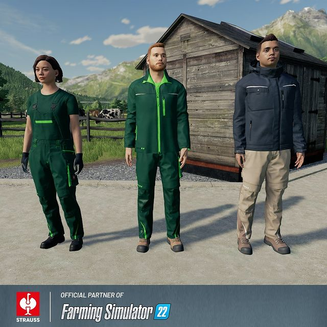 Strauss montérky v hre Farming Simulator 22